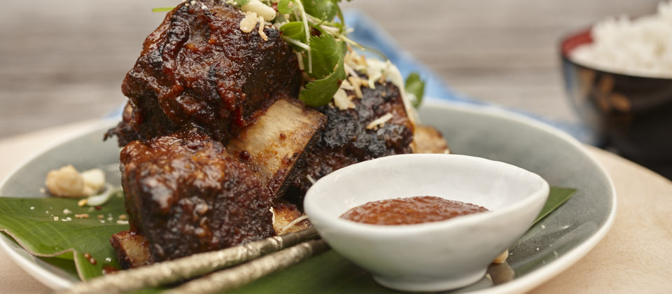 Sticky beef ribs with macadamia bulgogi sauce