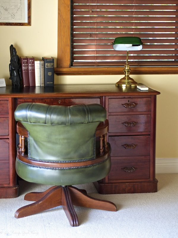 Desk and leather chair in the study at Sahali in the Kangaroo Valley NSW