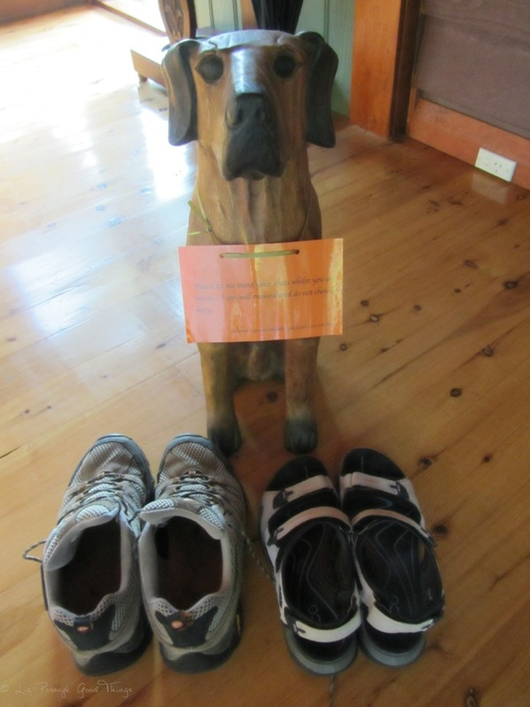 'I'll mind your shoes' - guard dog at Sahali - a luxury self contained holiday home in the Kangaroo Valley New South Wales