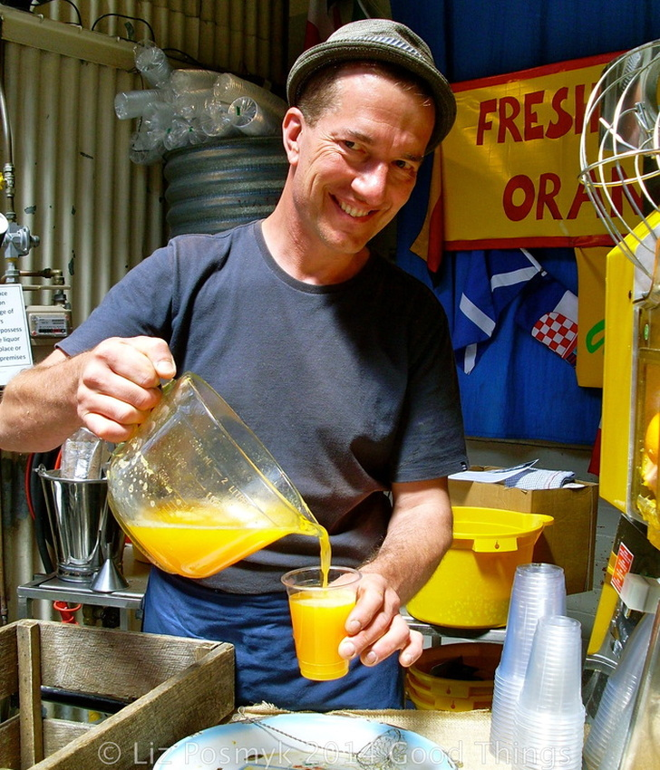 The Orange Juice Man at the Old Bus Depot Markets, photo by Liz Posmyk