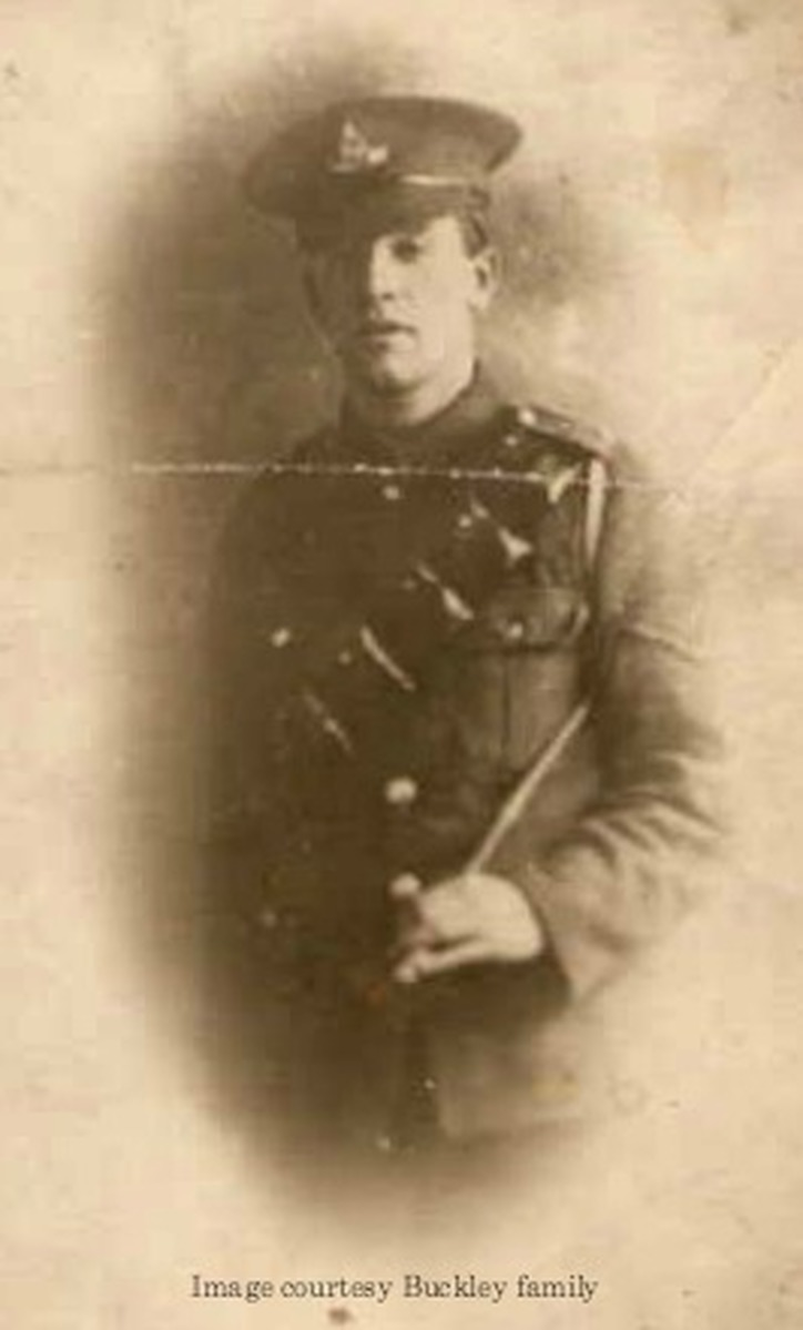 George Buckley killed at Flanders 8 July 1917 - image courtesy of the Buckley Family