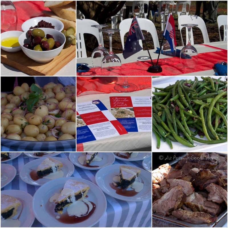 Collage of the food served at the Long Lazy Lunch in the Cherry Orchard, Young, NSW