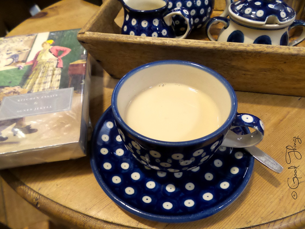 Cup of tea and books at Topping & Company Booksellers - Bath UK