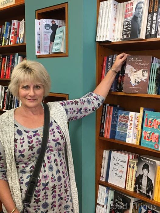 Author, Liz Posmyk, with her book on the shelves at Paperchain Bookstore in Manuka, ACT
