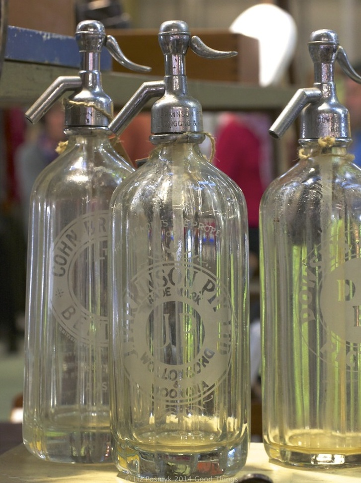 Vintage spritz bottles at the Old Bus Depot Markets, photo by Liz Posmyk