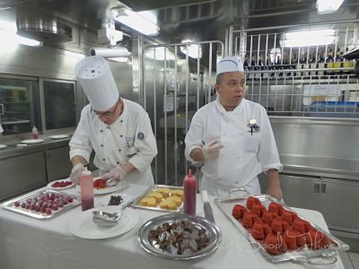 Chefs Antonio and Butar in the dessert prep area on board the Golden Princess - photo Liz Posmyk, Good Things