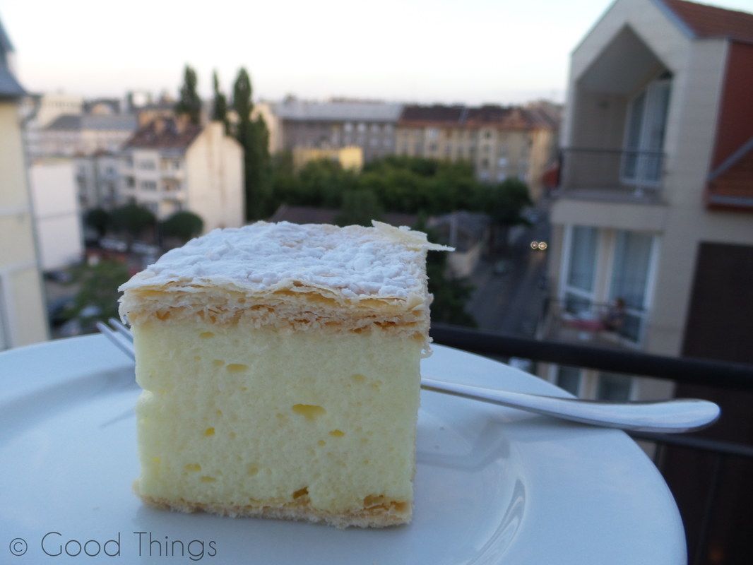 Hungarian  krémes and view from the balcony in Budapest by Liz Posmyk Good Things