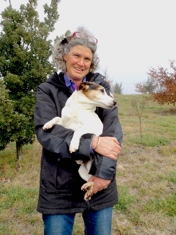 Lindsay with truffle dog, Eight,  at Turalla Truffles near Bungendore - photo Liz Posmyk, Good Things