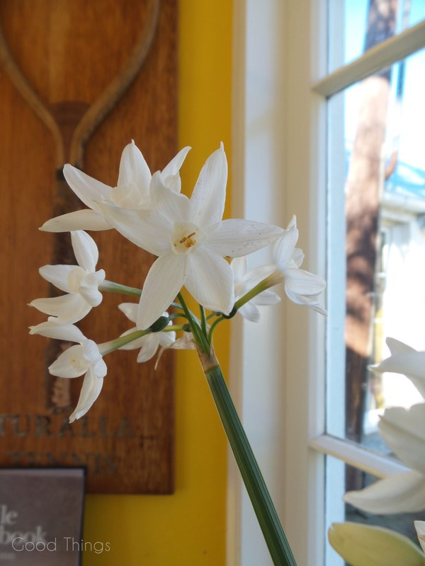 Flowers on a kitchen window sill at Turalla Truffles near Bungendore - photo Liz Posmyk Good Things