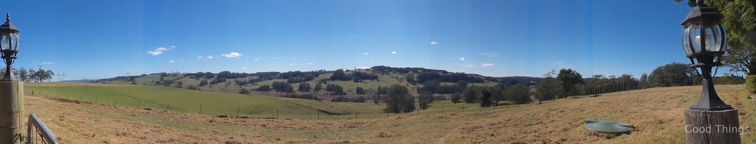 Panoramic shot of the vistas t Laurel View farm stay in the NSW Southern Highlands by Liz Posmyk Good Things
