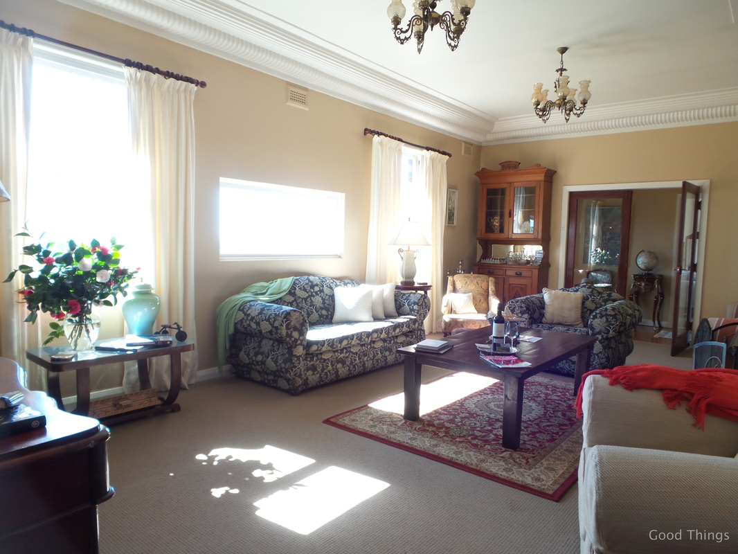 The sun-drenched lounge room t Laurel View farm stay in the NSW Southern Highlands by Liz Posmyk Good Things