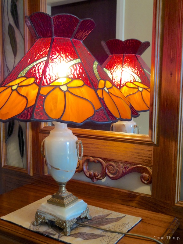 Tiffany lamp on hallstand t Laurel View farm stay in the NSW Southern Highlands by Liz Posmyk Good Things