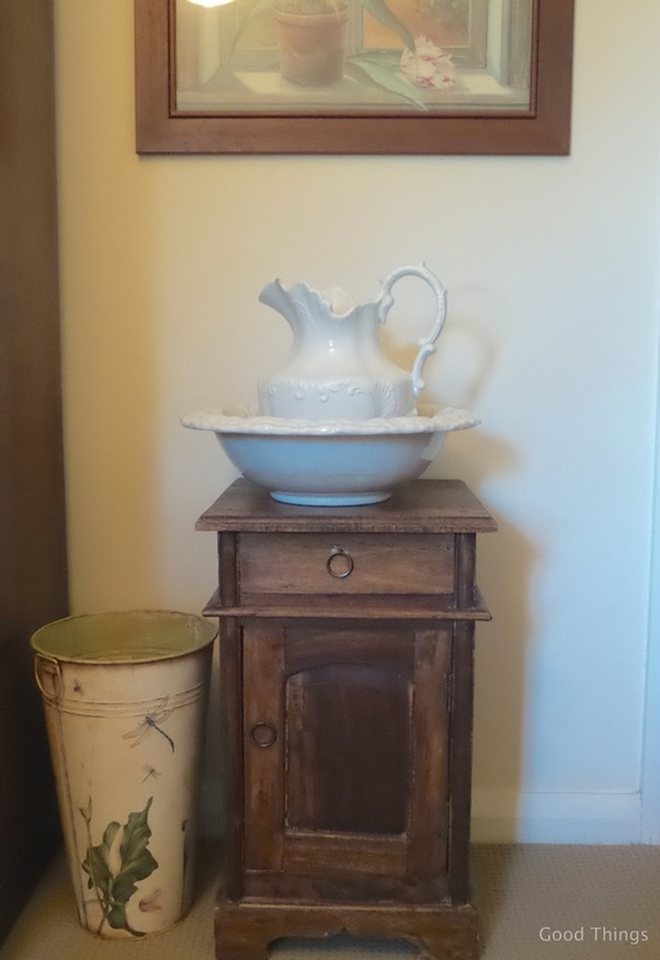 Wash stand in bedroom t Laurel View farm stay in the NSW Southern Highlands by Liz Posmyk Good Things