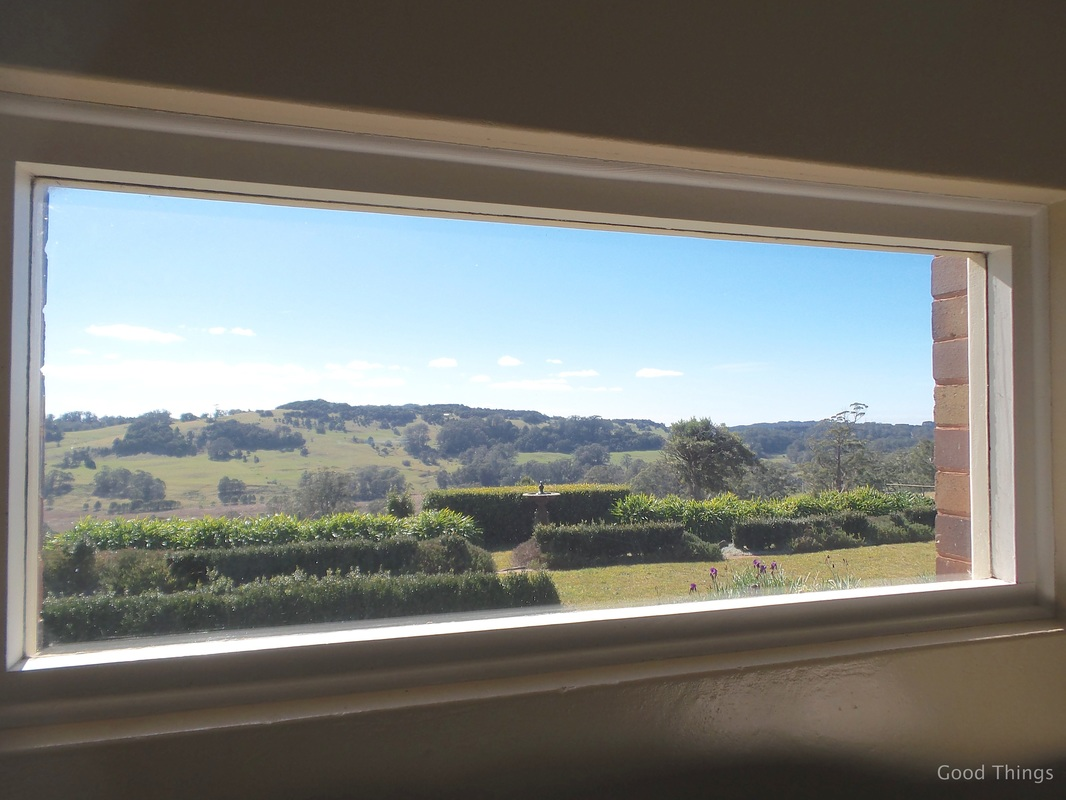 Picture window in the living room t Laurel View farm stay in the NSW Southern Highlands by Liz Posmyk Good Things