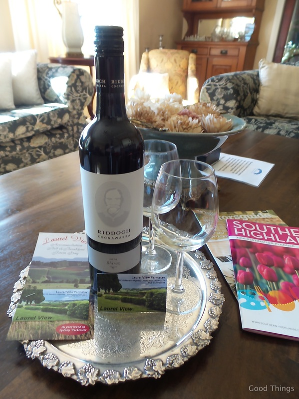 A bottle of red awaits t Laurel View farm stay in the NSW Southern Highlands by Liz Posmyk Good Things