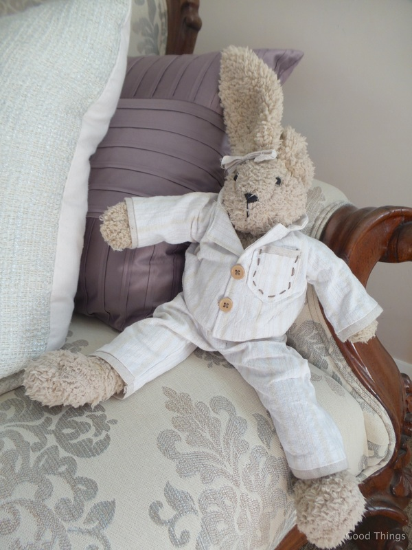 Floppy rabbit in pyjamas t Laurel View farm stay in the NSW Southern Highlands by Liz Posmyk Good Things
