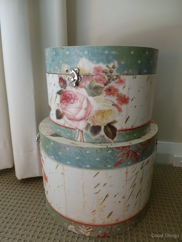 Hat boxes on the bedroom floor t Laurel View farm stay in the NSW Southern Highlands by Liz Posmyk Good Things