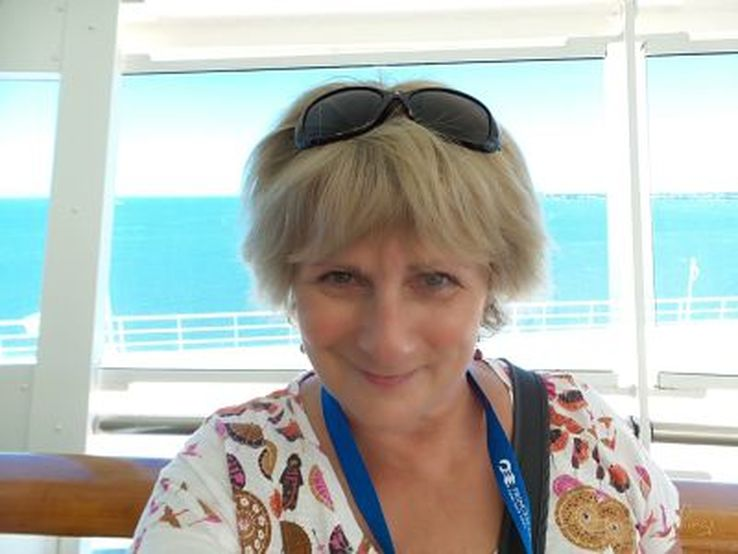 Liz Posmyk, award winning food and travel writer, on board the Golden Princess, Princess Cruises