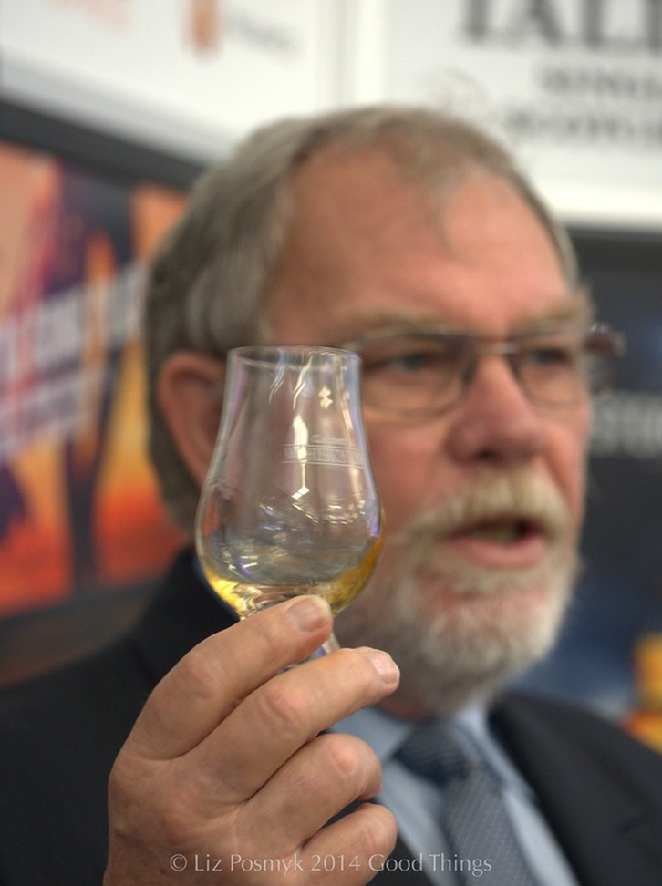 Explaining how to taste whisky at Whisky Live in Canberra