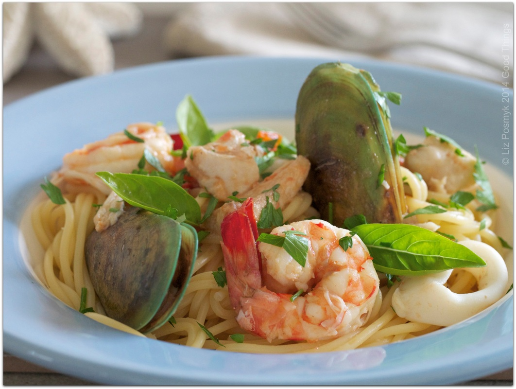 Spaghettini with seafood by Liz Posmyk Good Things