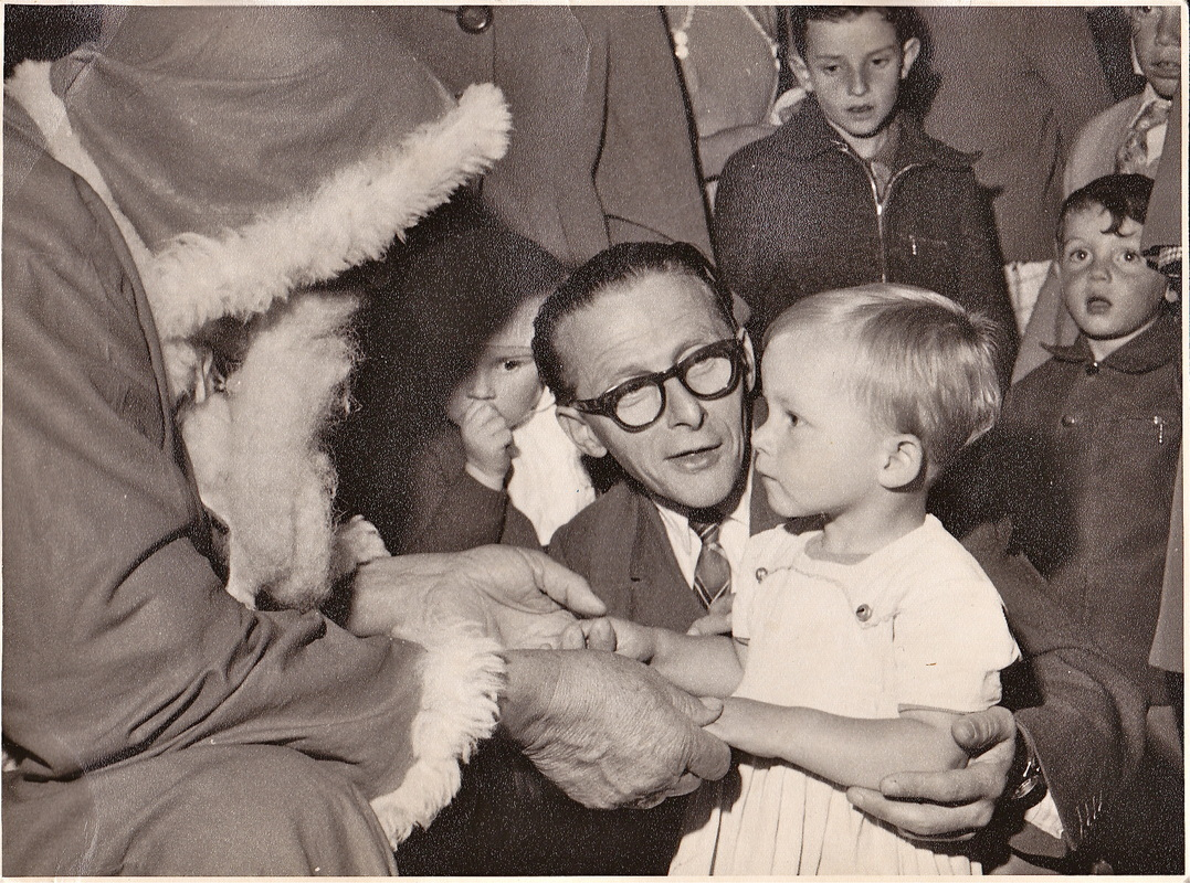 Liz Posmyk with Saint Nicholas circa 1960. Image is copyright.