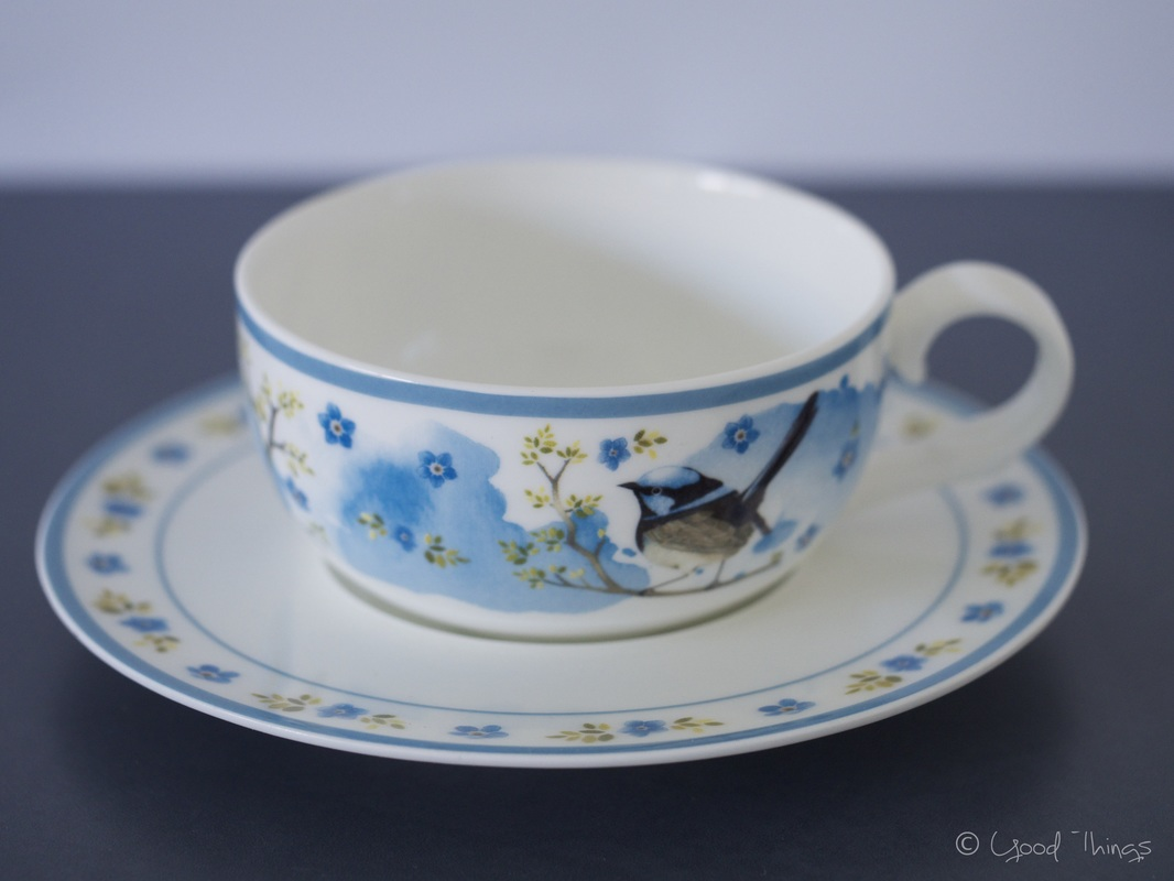 Bone china cup and saucer from Plume and Perch, designed by Daniella Germain, photo by Liz Posmyk, Good Things