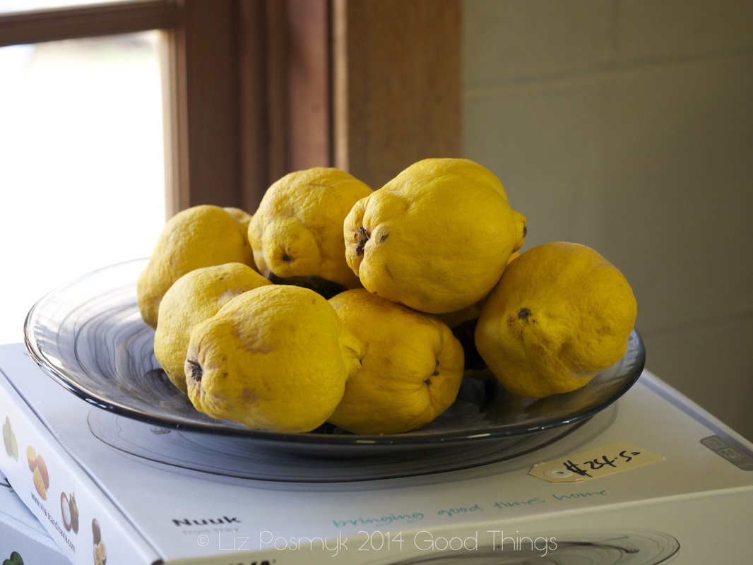Bowl of quinces at the Two Skinny Cooks -Larder Door-