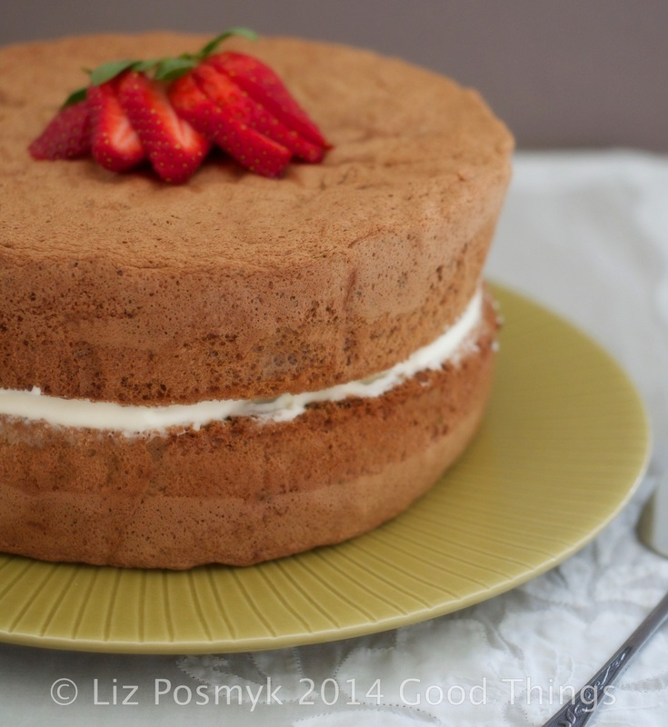Chocolate Fluff sponge cake with strawberries and cream by Liz Posmyk, Good Things