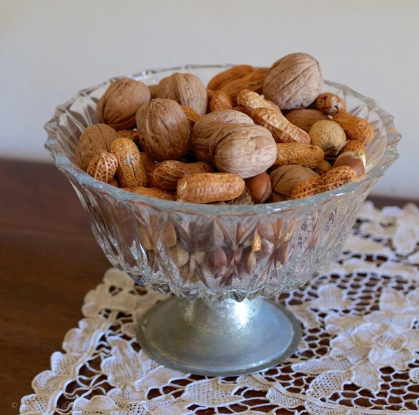 Bowl of nuts on lace at Cooma Cottage - Liz Posmyk Good Things