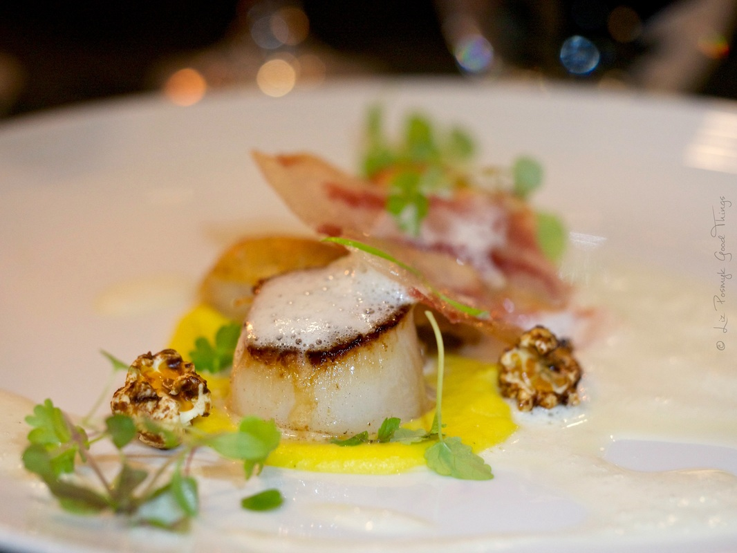 Pan-fried scallops, sweet corn puree, confit chicken wings, bacon veloute by Liz Posmyk Good Things Dinner with Whisky