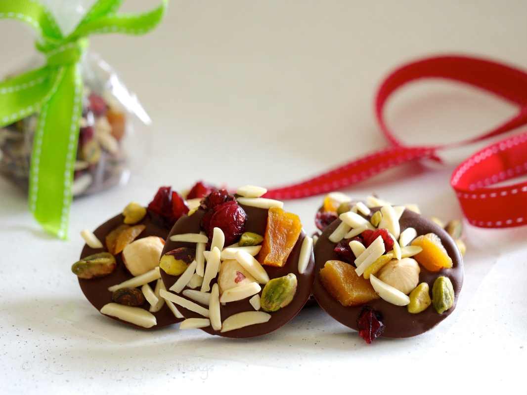Chocolate fruit and nut buttons for Easter or Christmas