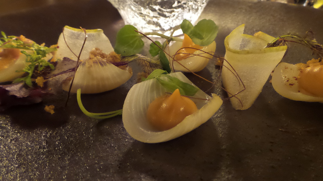 Exquisite little morsels of Pialligo Farm chorizo with cipollini onions, nashi pear and young mustard