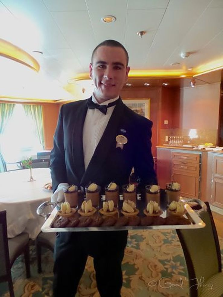 David with a platter of Norman Love pastries, on board the Golden Princess - photo Liz Posmyk, Good Things
