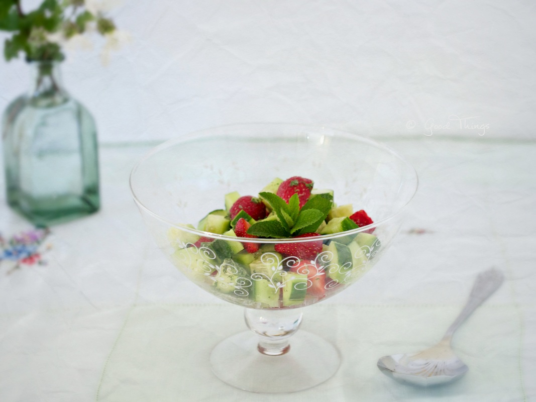 Strawberry and cucumber salad with elderflower
