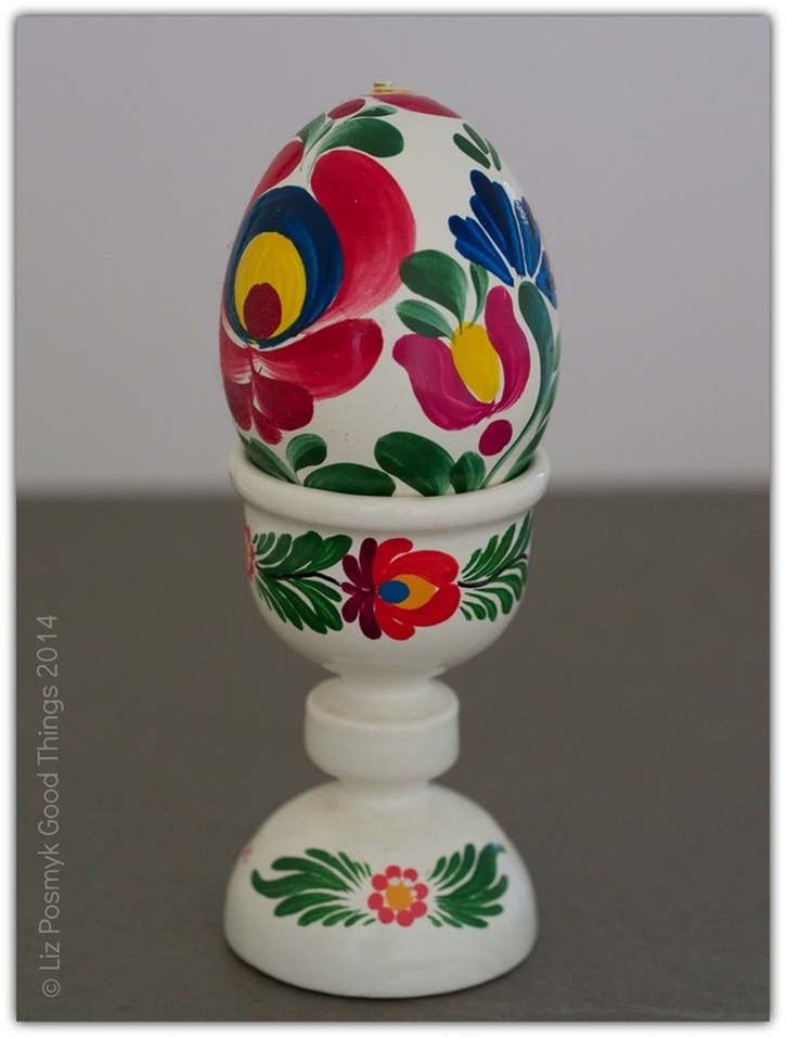 Hand painted Hungarian egg and egg cup. Photo by Liz Posmyk Good Things