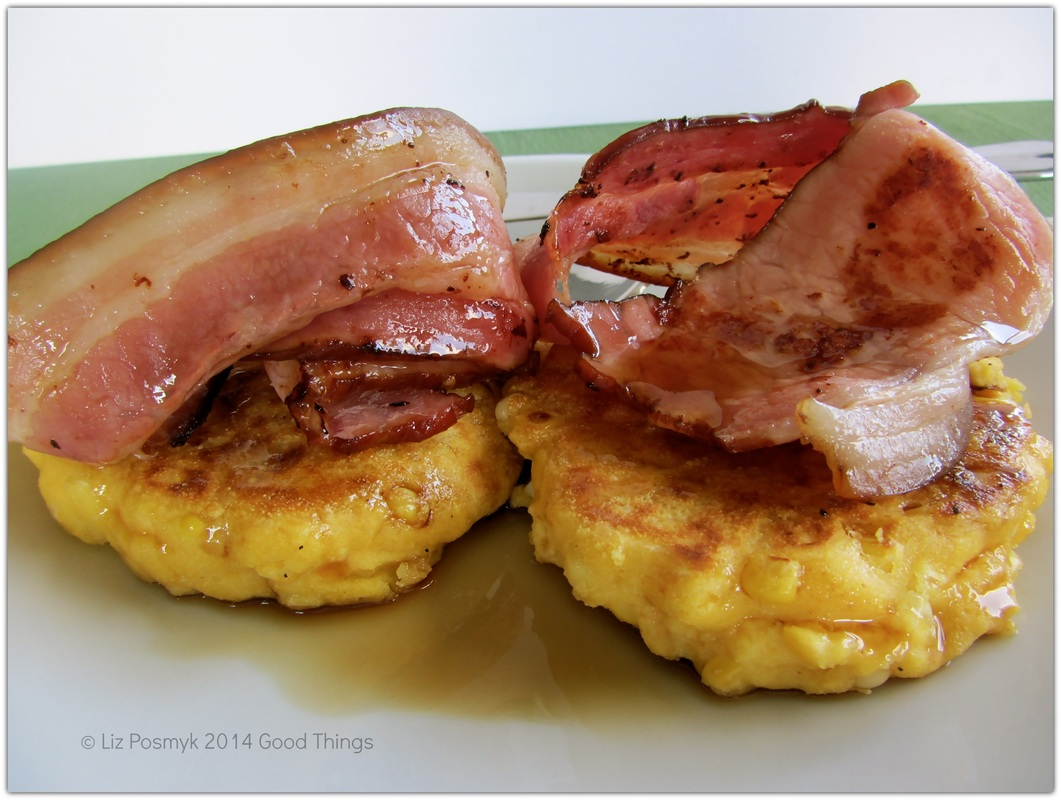 Corn and Polenta pancakes with maple syrup and bacon by Liz Posmyk, Good Things