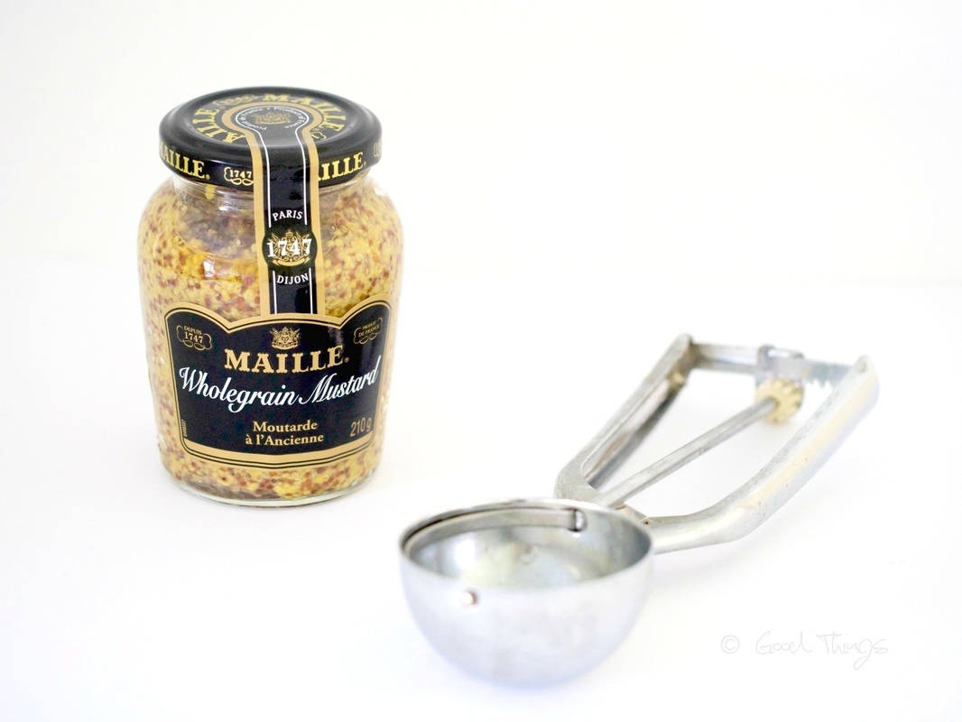Maille wholegrain mustard with ice cream scoop by Liz Posmyk food and cookery writer, Good Things