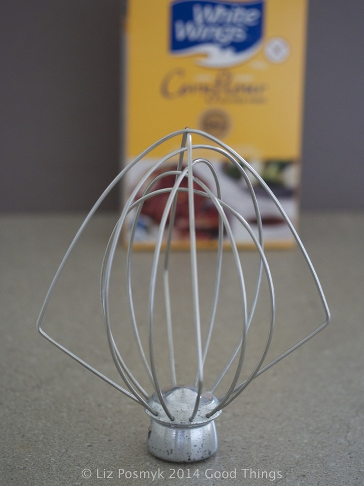 Stand mixer whisk attachment with cornflour by Liz Posmyk, Good Things