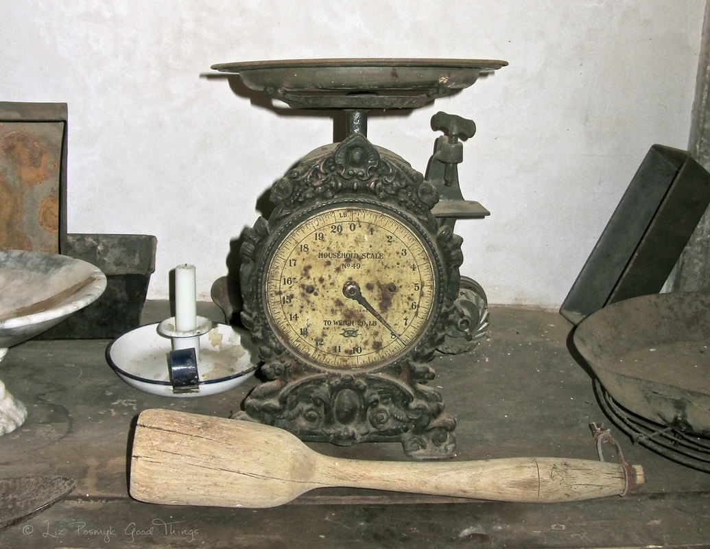 Old scales and kitchenware at Cooma Cottage - Liz Posmyk Good Things