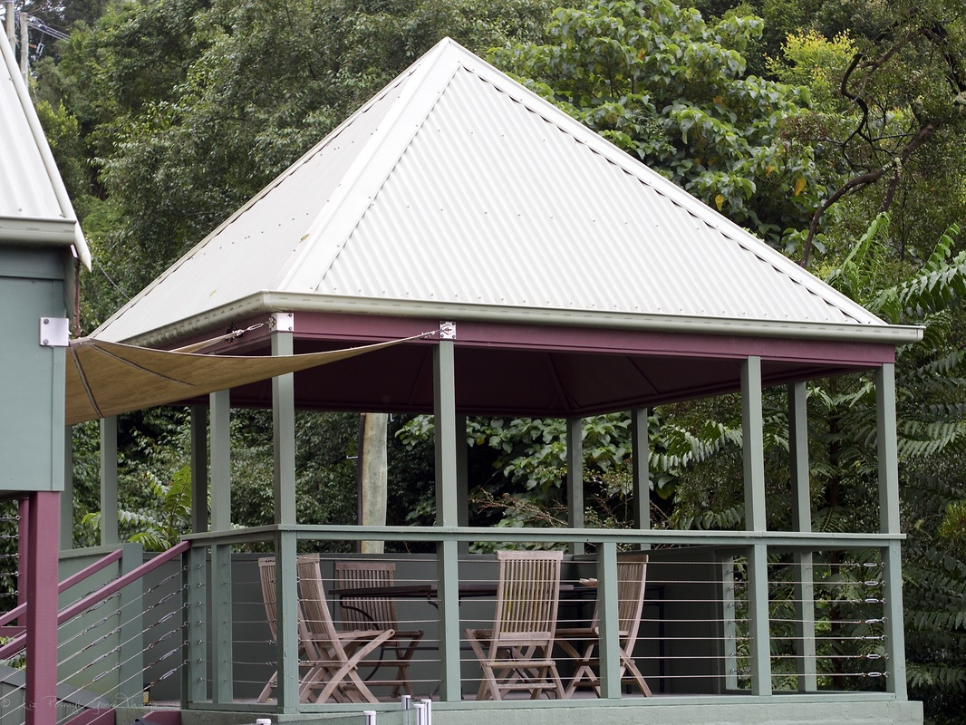 The covered sheltered BBQ area Sahali - a luxury self contained holiday home in the Kangaroo Valley New South Wales