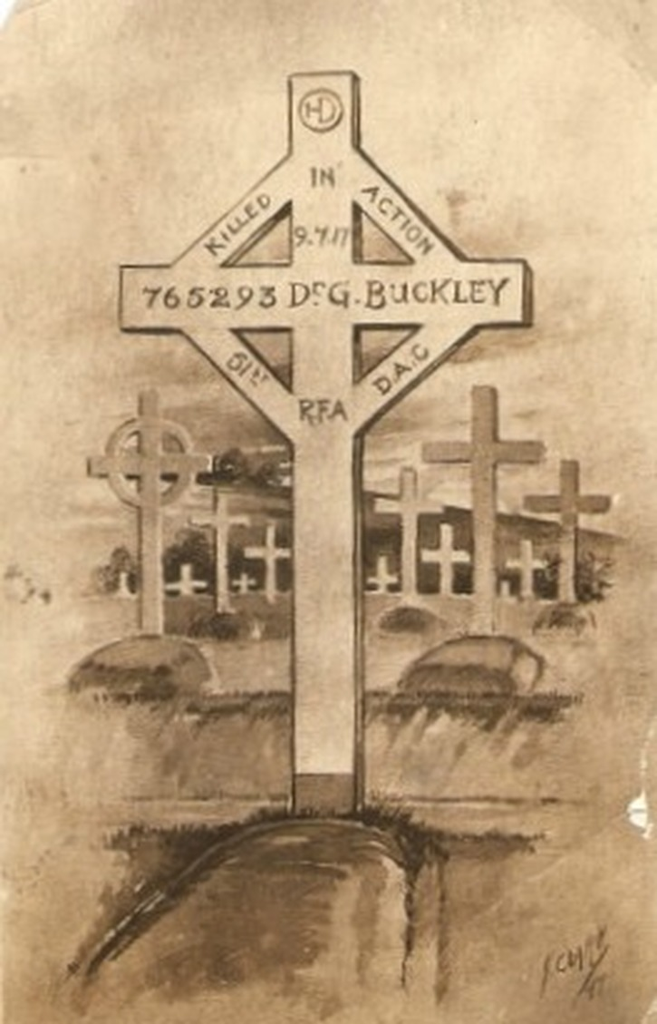 Original grave marker for George Buckley killed at Flanders 8 July 1917 - image courtesy of the Buckley Family