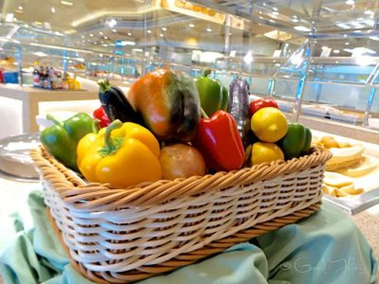 A basket of fresh produce in one of the bistros on board the Golden Princess - photo Liz Posmyk Good Things