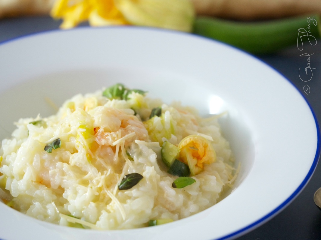 Summer risotto of zucchini flowers and prawns by Liz Posmyk, Good Things