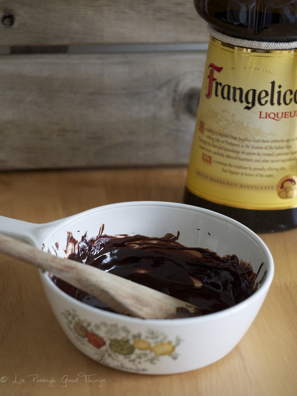 Melt the dark chocolate with a little butter, add some frangelico