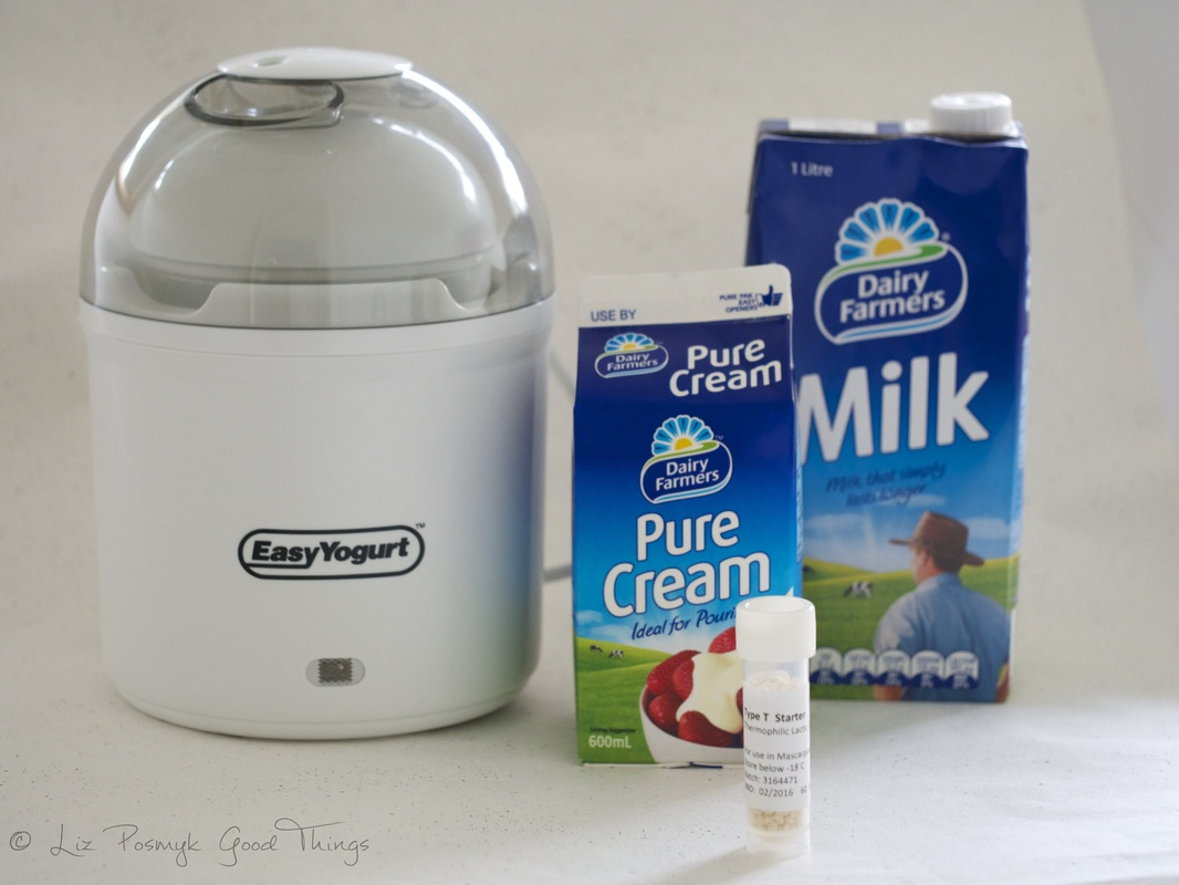 Pure cream, milk, Type T starter and a yoghurt maker for making mascarpone