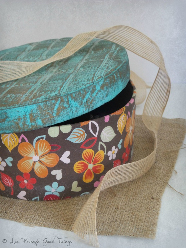 My biscuit tin on hessian by Liz Posmyk Good Things