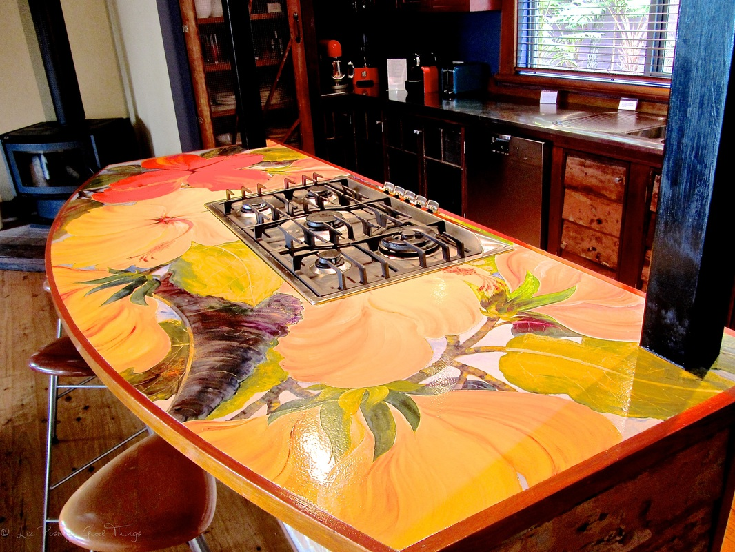 The hand painted kitchen bench top at Sahali in the Kangaroo Valley NSW
