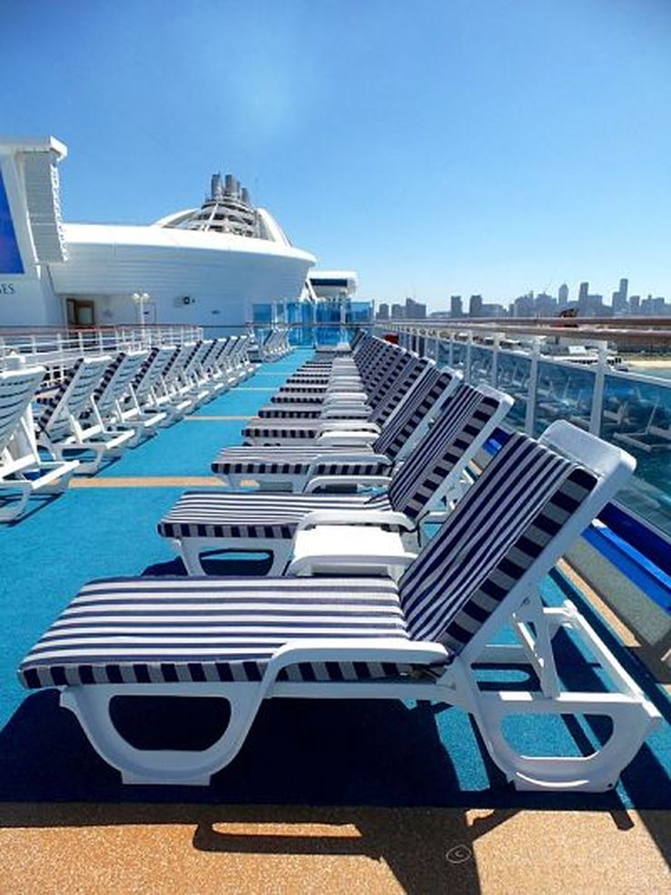 Lounge chairs on the sun deck on board the Golden Princess - photo by Liz Posmyk Good Things