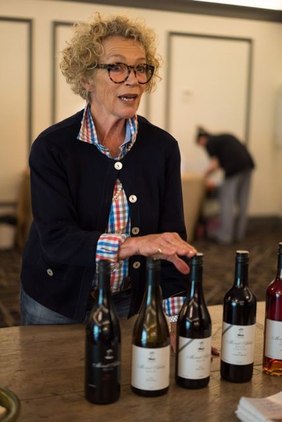 Sally Beresford of Mt Ashby with her range of wines