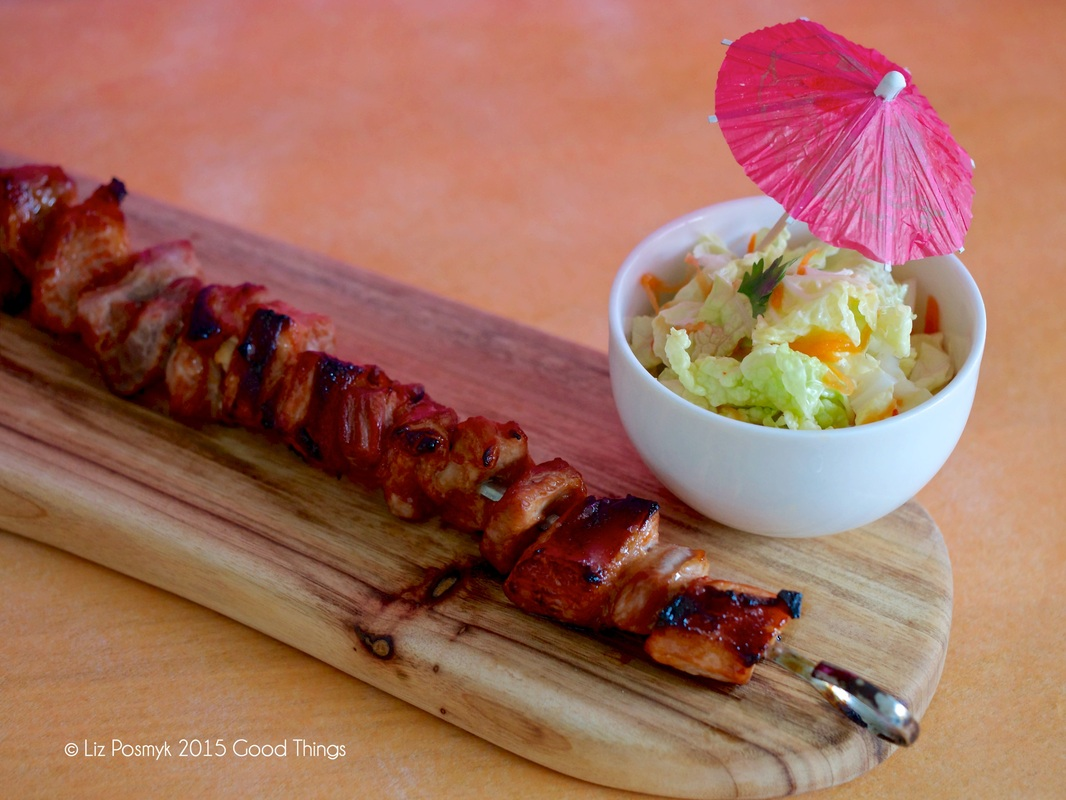 Inihaw na Baboy Filipino BBQ pork belly with banana ketchup and a salad of wombok, carrot and coriander
